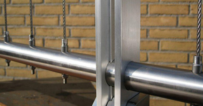 Vertical Balustrade Wire Stainless Steel Tube Mount