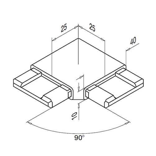 square flush 90 u00b0 bar connector